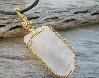 Quartz Crystal Point Pendant, Wire Wrapped in Gold Tone Wire, Adjustable Cord Necklace, Vegan Minimalist Jewelry, Unisex, READY To SHIP QPA1
