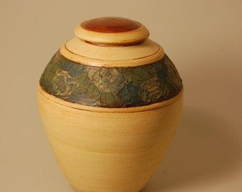 Urn Lidded Jar Neutral Colorful Floral Vessel Adult Flower Petals KH1568 Cremation Ashes Artistic One of a Kind Ceramic Pet