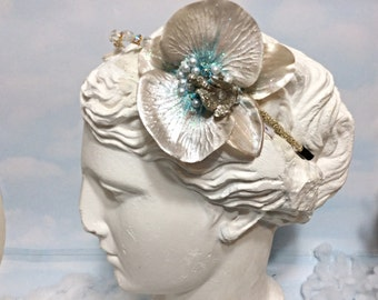 White gold Orchid headband, white Orchid flower Headband, White orchid crown, orchid headpiece, Pearl Orchid headband, boho women headband