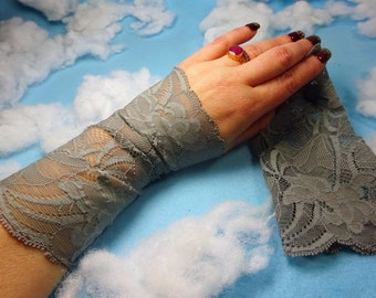 Grey lace bracelet, Lace wrist cuff, Lace victorian glove, boho lace bracelet, stretchy lace bracelet, wrist tattoo cover, grey lace cuff