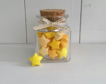 Square Jar of Yellow Origami Stars