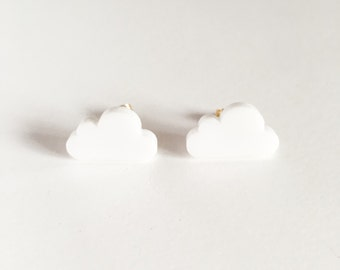 laser cut cloud nine post earrings-kawaii earrings-stud earrings-plastic post earring-resin earring-cloud earring-love factory NY