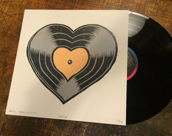 Woodcut Art Print - Vinyl Record Love