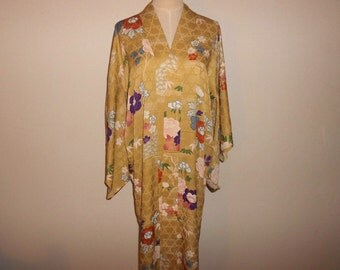 Antique nagajyuban - Floral&Kagome, Faded yellow, unlined