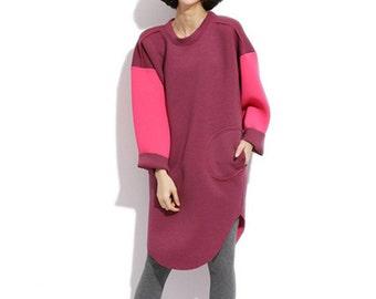 Woman Dress Oversize Tshirt Cute Dress Winter Dress Long Tshirt Splicing Dress
