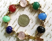 Bracelet Vintage Scarab Egyptian Revival Carved Multi Gemstones Rose Quartz, Carnelian, Jade, Aventurine, Chalcedony, Onyx, Exotic Boho Chic