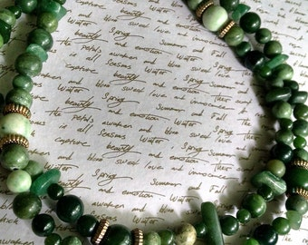 Necklace Handmade Long Chunky Greens Bohemian Chic No Clasp Heavy Aventurine and Serpentine Stone Layer or Wear Alone as a Statement Piece
