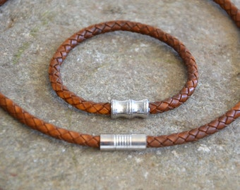 FREE SHIPPING - Mens Leather Bracelet and Necklace,  Set Mens Gift, Mens Accessories, Anniversary Gift,  Wedding Gift For Husband