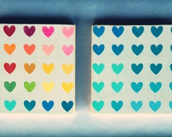 7x7 Cute Heart Signs-Square-Hearts-Love-Rainbow-Blue Hues