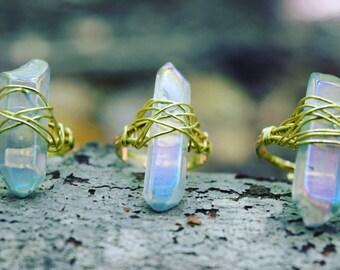 Serenity Quartz ring / quartz point ring / raw crystal ring