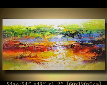 contemporary wall art,, Modern Textured Painting,Impasto  Landscape  Textured Modern Palette Knife Painting,Painting on Canvas by Chen hh54