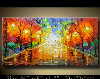 contemporary wall art,, Modern Textured Painting,Impasto  Landscape  Textured Modern Palette Knife Painting,Painting on Canvas by Chen 0927