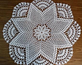 White Crochet Doily, Cotton Thread Table Mat, Place Mat, Lace Doily