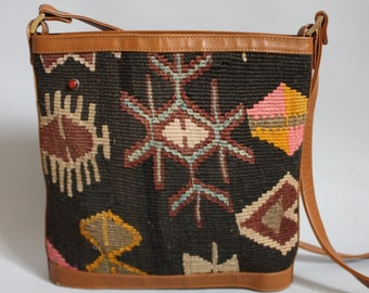 Kilim Woven Sisal Wool Purse Crossbody Blanket Bag Ethnic Southwestern