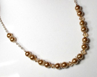 Gold and Silver Necklace Swarovski Crystal With Gold Pearl Necklace Swarovski Golden Shadow Crystal Necklace Gold Pearl Necklace