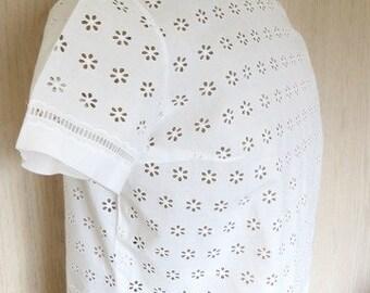 1960s French white cotton eyelet summer shirt/ fine linen SZ Large