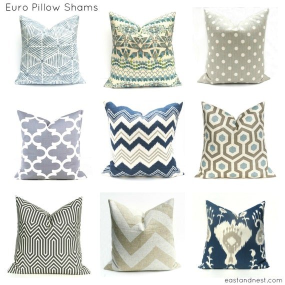 euro pillow navy pillow euro sham blue pillow cover by eastandnest. Black Bedroom Furniture Sets. Home Design Ideas