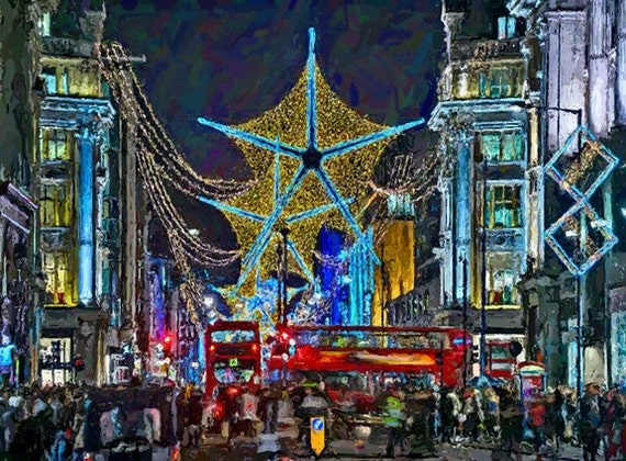 "LONDON STREET NIGHT Lights Christmas Holiday Painting Giclee Canvas 16""x20"" Impressionism. Cityscape"