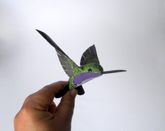 Hummingbird art sculpture animal paper mache bird ornament