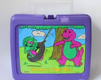 1992 Barney the Dinosaur and Baby Bop  Lunchbox Purple by Thermos