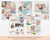 Collage & Blog Board Multipack vol.2 - psd templates for Photoshop,16x20 inches, for photographers, share, print, pin on Pinterest