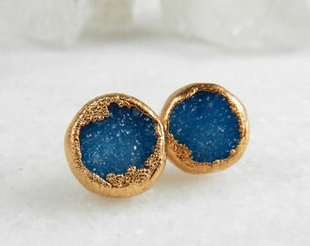 druzy stud earrings, druzy earrings,  rose gold earrings, rose gold studs, rose gold, rose gold druzy, gifts for her