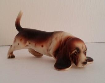 Vintage Ceramic Basset Hound Dog Figure