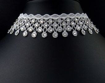 Crystals and Lace White Choker Necklace with Clear Swarovski Elements Set All-Over, Wedding, Bridal, Prom, Ball, Pageant
