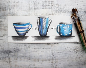 Original watercolor painting tea cup painting 6x16' blue white black kitchen cups mugs watercolor nursery art