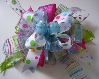 Pink Green Blue Easter Wreath Bow Whimsical Easter Lantern Bow Easter Gift Basket Bow Polka Dots Girl Birthday Party Decoration Shower decor