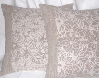 Organic damask linen cushions set of 2  18x18 natural colors burlap linen decorative pillow covers