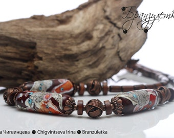 Copper treasure - set necklace and earrings - lampwork bead brown gray murrini flowers - copper wooden