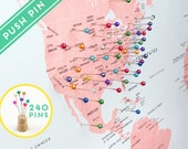 World Map Canvas Push Pins - Countries, Capitals, USA and CANADA states  - Push Pin Travel Map, Pin It Map, 240 Pins