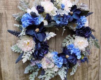 Blue White Wreath, Victorian Garden Wreath, Peony Wreath, Blue Hydrangea Wreath, Magnolia Wreath, Beach Tones, Large Wreath