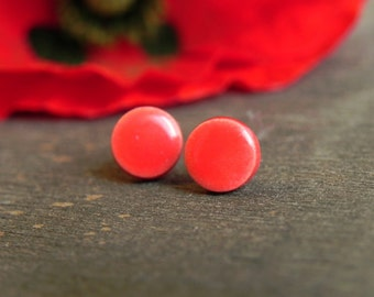 Little Red Ceramic Earrings Small Stud  Tiny Round Ceramic Jewelry Pottery Surgical Steel Post