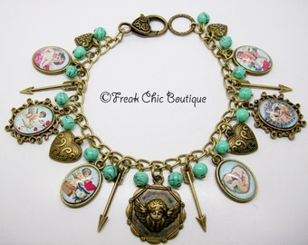 Valentines Altered Art Charm Bracelet, Cupid Bracelet, Cherub Jewelry, Unique Gift