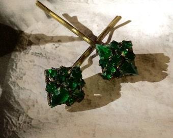 Decorative Deco Hair Jewelry Emerald Green Rhinestone 1920's Bobby Pins Christmas Holiday