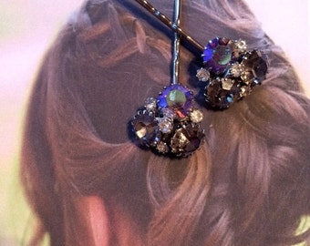 SALEWindyDays Decorative Hair Pins Jewelry Vintage 1950's Grey Gray Weiss Rhinestone Bobby Pins