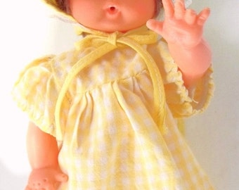 """ON SALE Vintage 10"""" Plastic Drink and Wet Doll Marked U.D. Co. Inc. Hong Kong, Dark Brown Hair, Yellow Check Dress and Bonnet"""