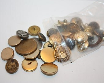 Vintage Lot Of  50 Silver and Gold Toned Metal Buttons, domed, rhinestone, sizes vary, Great for crafting, DIY
