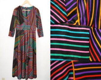 Vintage Colorful Striped Maxi Long Dress 70s Retro Rainbow Print Hippie Boho Bohemian