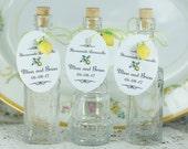 100 Fancy Bottles/Tags/Lemon Charms/Corks Limoncello Bottles Empty Bottles Clear Glass Bottle FREE Funnel Limoncello Favors Custom Tags