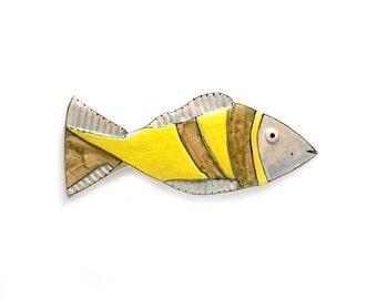 Abstract Ceramic Fish,  Wall Hanging Fish, Nautical home decor, Animal Sculpture of fish, Colorful fish, Yelow fish