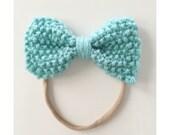 Knit Bow on Elastic band for Babies, Aqua Knit Bow Headband