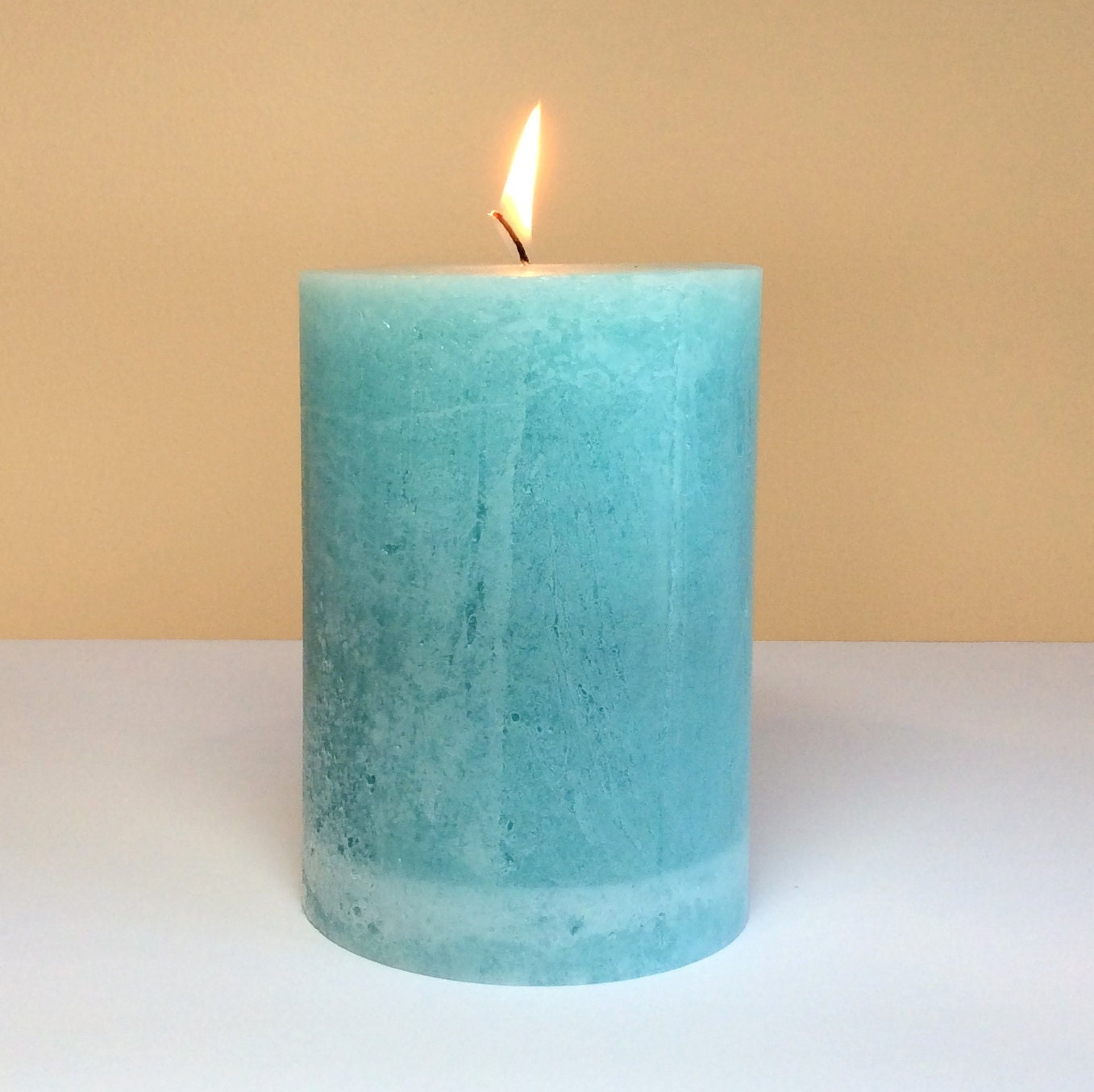 Light Teal Rustic Unscented 4 Wide Pillar Candle