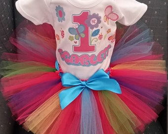 Flowers and Butterflies, Shirt and tutu Skirt Costume Tutu Birthday Outfit