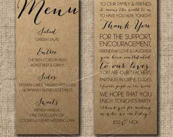 Custom/Printable PDF Wedding Menu & Thank You