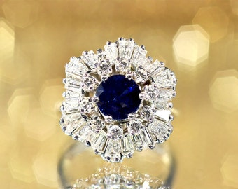 Blue sapphire, Round cut, Tapered Baguettes, Diamonds, 18k Gold, White Gold,  Ballerina style, Ring