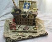 Antique steamer trunk, pirate, musketeer miniature furniture, handmade miniature - dollhouses miniature scale 1:12
