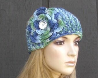 Crochet Flower Head Wrap Headwrap Ear Warmer Winter Knit Blue Green with Sparkle Button